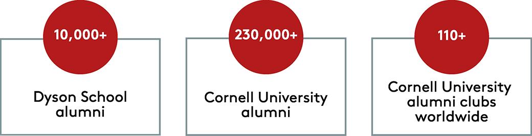 Infographic - 10000+ Dyson School Alumni, 230000+ Cornell University Alumni, 110+ Cornell University Alumni Clubs Worldwide