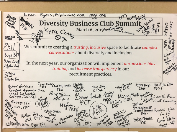 Poster with diversity messaging and handwritten notes
