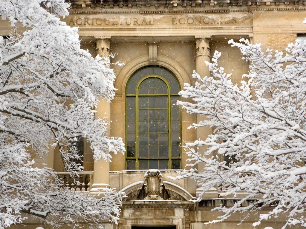 Warren Hall in the snow