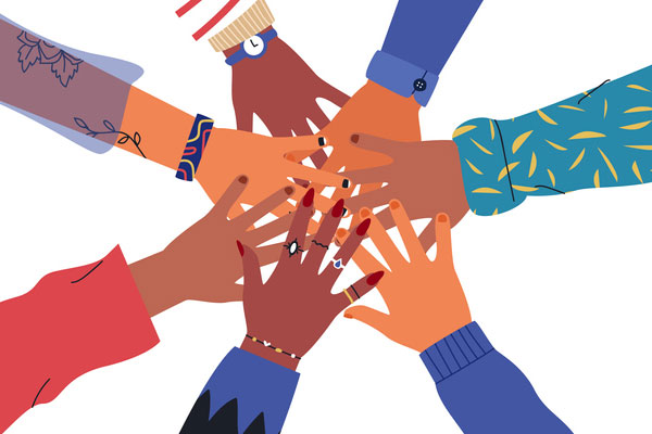 Illustration of 7 hands with a range of skin colors reaching out and meeting in the middle