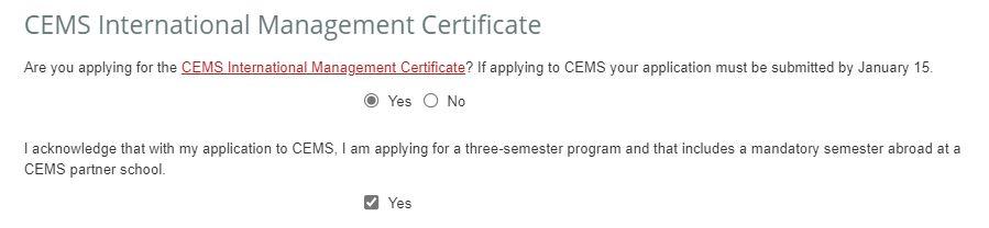 Cornell CEMS application form screenshot